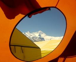 view of everest out the comms tent window small